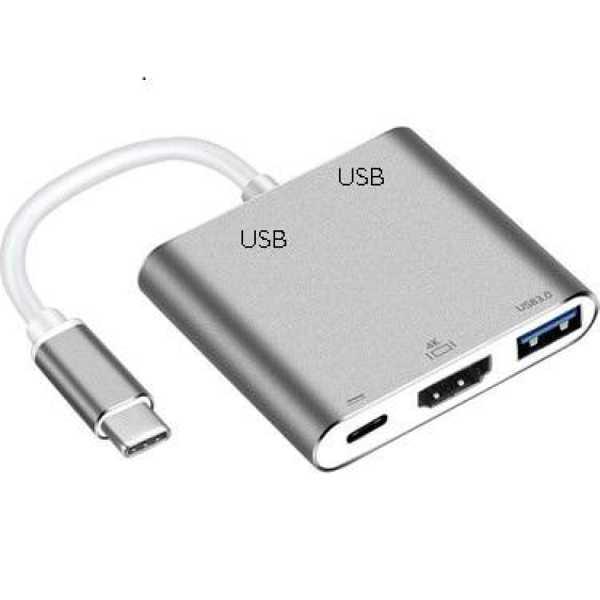 TYPE-C HDTV MULTİ ADAPTÖR 3.0 4K 3X3.0USB HDMI USB-C GİRİŞLİ