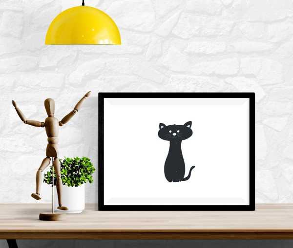 Gülen Kedi - 2 Boyutlu Çerçevelenebilir Kedi Figürü Süs Eşyası