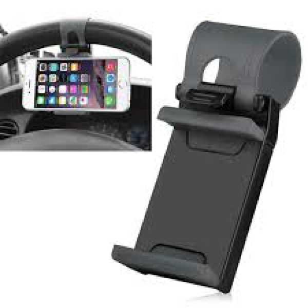 Araç Oto İçi Kelepçeli Direksiyon Arası Telefon Tutucu Siyah