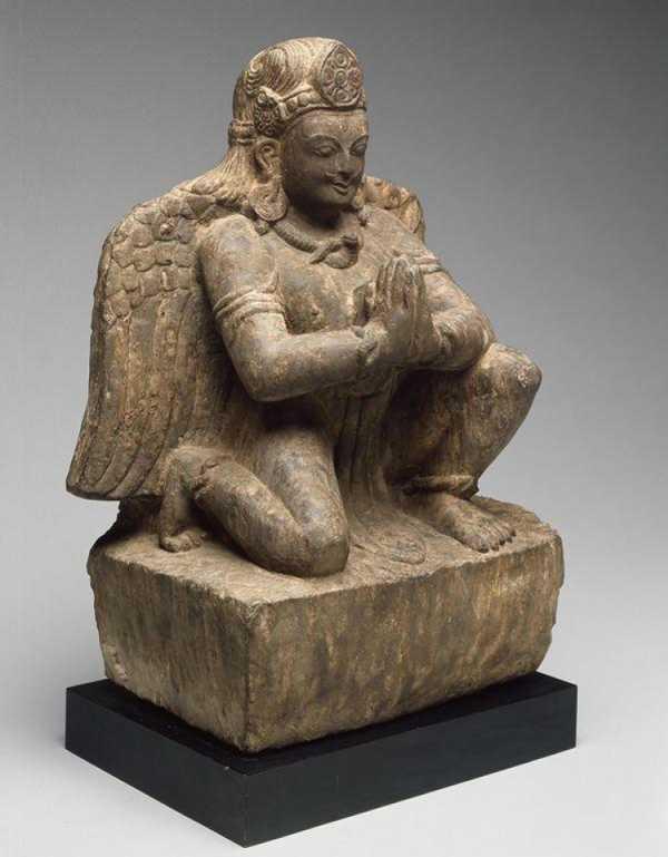 Tanrı Vishnu Nun Mount, Garuda, Adoration Jest (Anjali Mudra), 14. Yüzyılda Elleriyle Diz Çökmüş Plastik Aparat