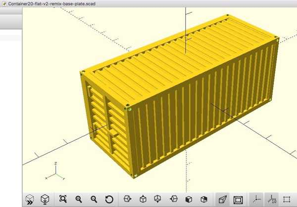 HO model tren için 20 feet konteyner w / taban plakası - remix
