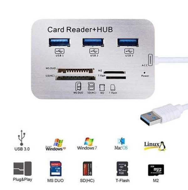 3-Port USB 3.0/3.1 Hub With Card Reader Kart Okuyucu Çoklayıcı