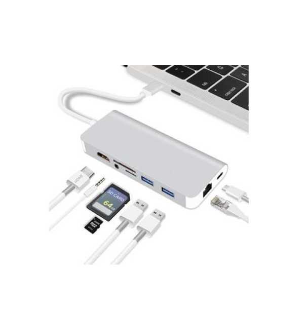 8-in-1 USB Type C Adaptör HDMI, 2 USB 3.0, SDTF Card Reader RJ