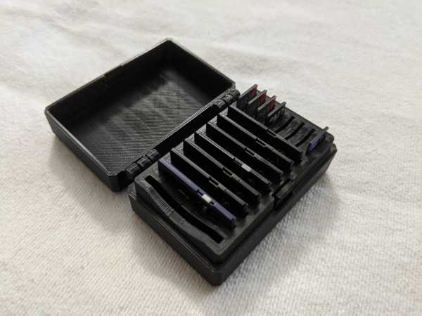 Hinged Sd And Micro Sd Card Box - 16 Nests - All-In-One