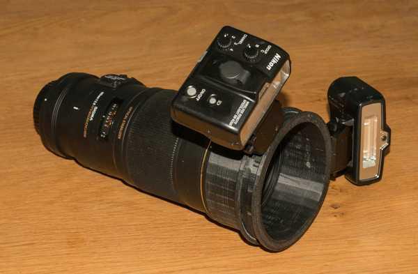 Sigma 180 mm üzerinde Nikon SB-R200 için Makro Flaş Tutucu