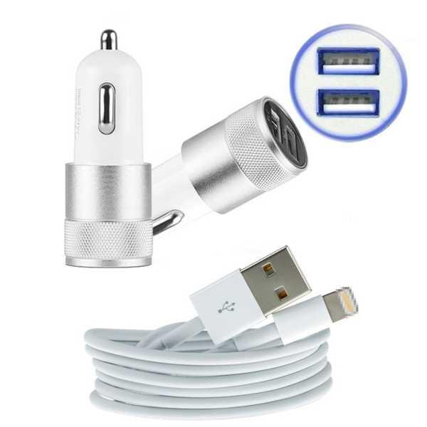 Araç İçi Şarj Cihazı Çift USB 3.0 Destekli + Şarj Kablosu