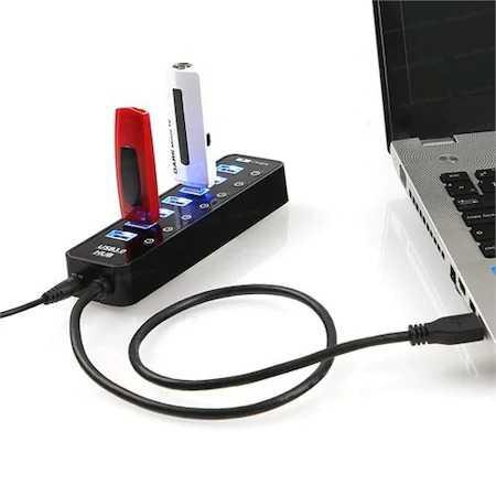 7 Port USB 3.0 Siyah USB Çoklayıcı Hub Anahtarlı Usb Uzatıcı
