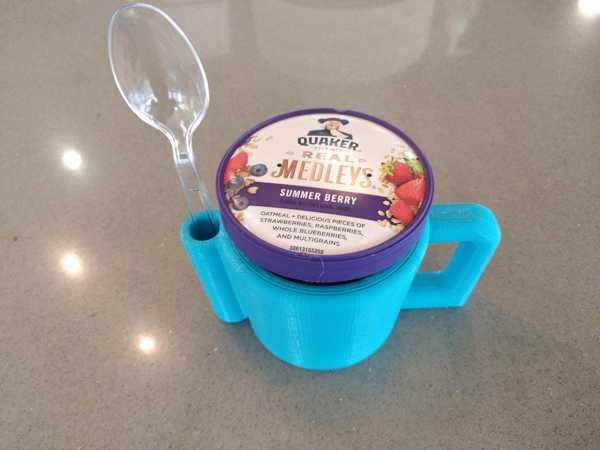 Toptan Kaşıklıklı Yulaf Ezmesi Dondurma Çorba Puding Kupa Plastik
