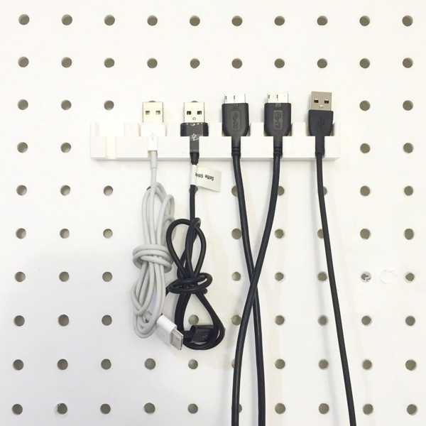 Pegboard Için Usb Kablosu Tutucu 6 Kabloluk Asma Askı Askısı
