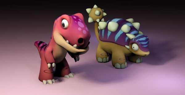 Desteksiz İki Dinozor Plastik Aparat