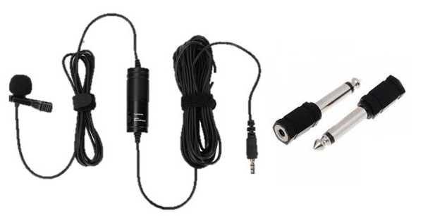 Profesyonel Video Çekim Yaka Mikrofonu  3.5 MM 1/4'' Çevirici