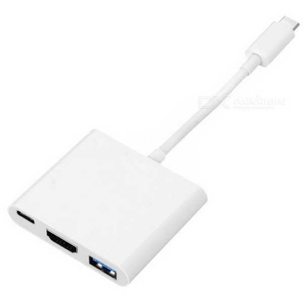 Type-C to HDMI - USB - OTG Çevirici Adaptör Görüntü Aktarım Kablo