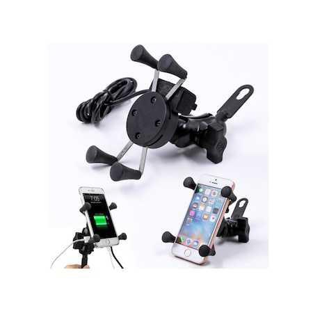 USB Çıkışlı Kablo Aparatlı Motorsiklet Aksesuarı Telefon Tutucu