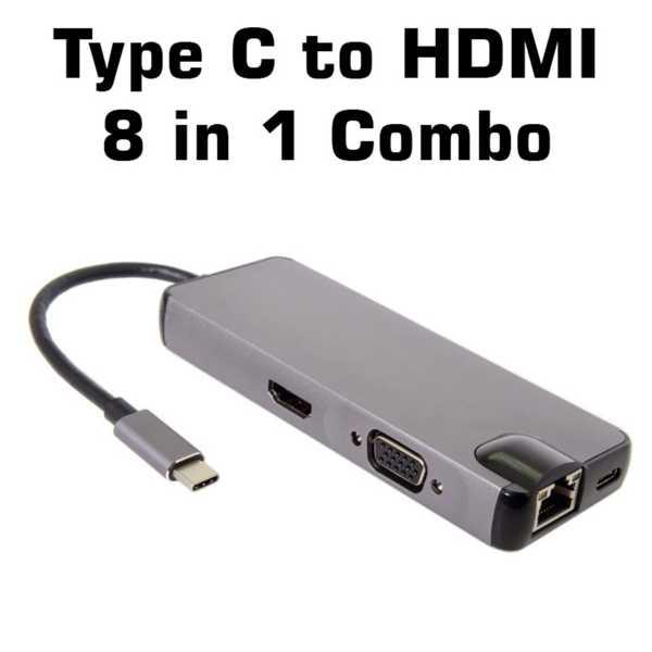 USB 3 Type C to HDMI 8in1 Combo Adaptör Vga Micro Sd Görüntü