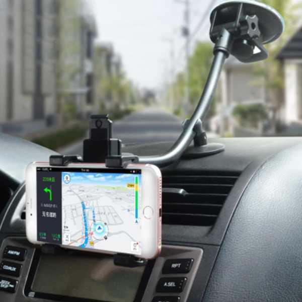 Oto Araç İçi Navigasyon Tutacağı Cam Vantuzlu Kıskaçlı 360 Derece